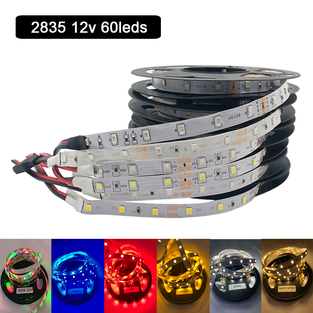 DC 12 V Volt Strip Led Light Tape 2835 RGB No Waterproof 12V DC 60LED/M RGB Led Strip Tape Lamp Diode Flexible TV Backlight