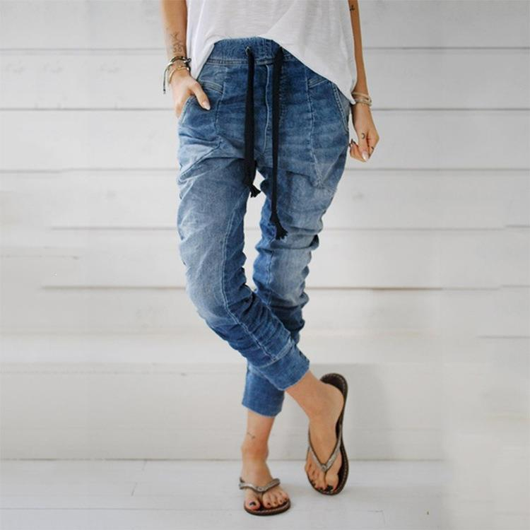 Solid High Waist Skinny Jeans Women Fashion Denim Pants Office Lady Full Lenght Ankle- Length Trousers Pencil Jeans