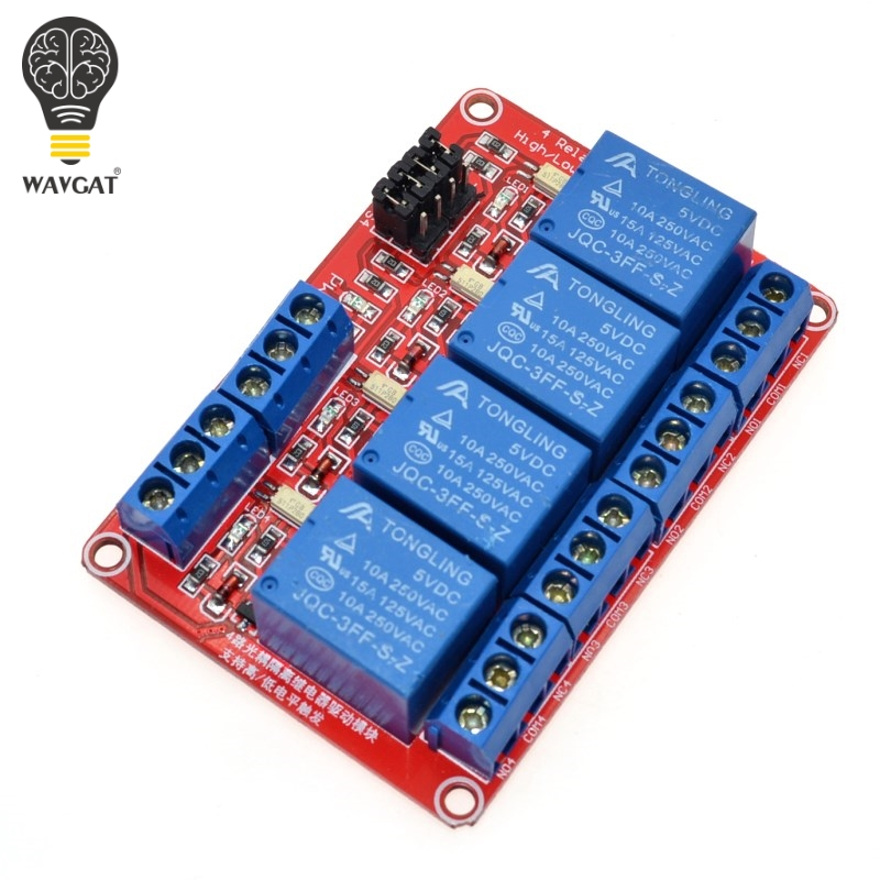 5V 4 Channel Relay Module With Optocoupler Isolation Supports High And Low Trigger Voltage 5V, 9, 12V, 24V WAVGAT