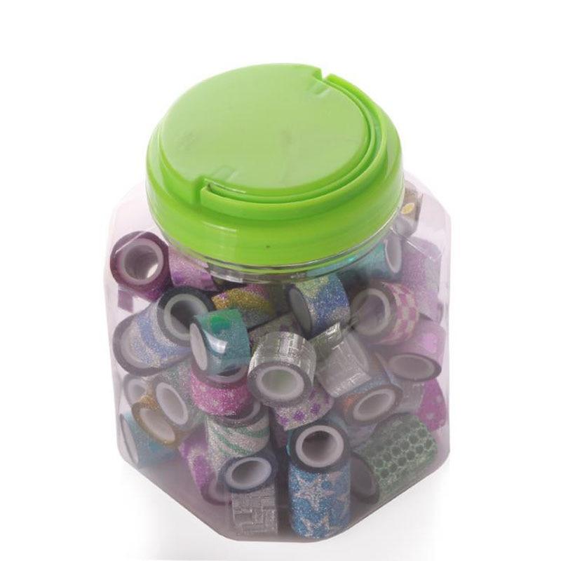 90 Pcs/pack Cartoon Mini Colorful Glitter Star Heart Decorative Masking Washi Tapes Student Stationery School Office Supply
