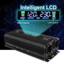 12v to 220v Inverter Modified Sine Wave Auto Inverter 2 EU AC Outlets LCD Display Camping Car Inverter With Insurance Inverter
