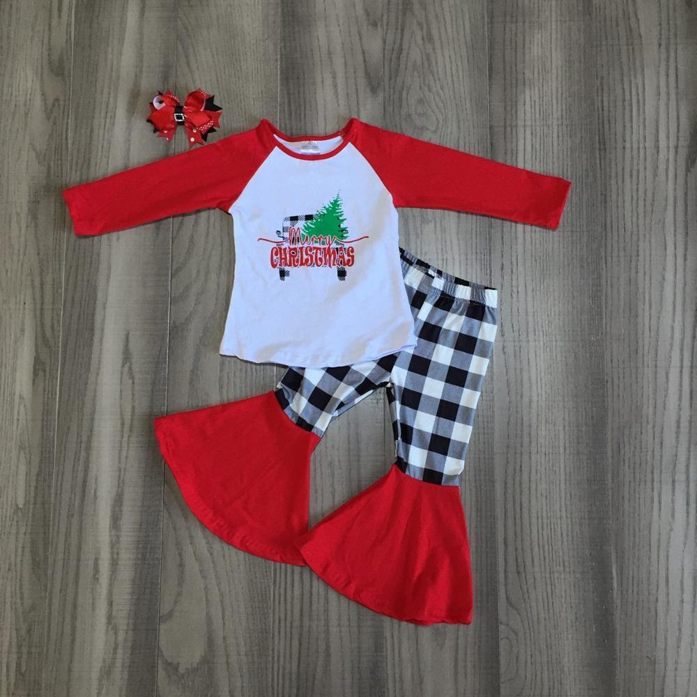 Осенне зимняя одежда с рисунком рождественской елки и грузовика; одежда для маленьких девочек; брюки колокольчики; хлопковые брюки в клетку с оборками; подходящие аксессуарыКомплекты одежды   -