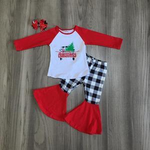 Image 1 - 메리 크리스마스 트리 트럭 가을/겨울 복장 아기 소녀 옷 벨 바지 코튼 체크 무늬 바지 프릴 매치 액세서리