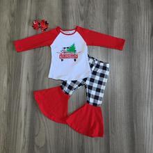 Merry Christmas tree รถบรรทุกฤดูใบไม้ร่วง/ฤดูหนาวชุดเสื้อผ้าเด็กทารก Bell bottoms ผ้าฝ้ายลายสก๊อตกางเกง ruffles match อุปกรณ์เสริม