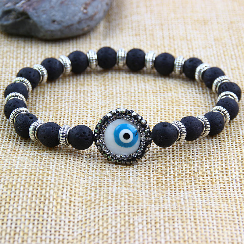 Itenice Lava Stone Beads Bracelet Men Strand Blue Eyes Bracelets For Women Charm Cuff Wristband Adjustable Bracelet Handmade Charm Bracelets Aliexpress