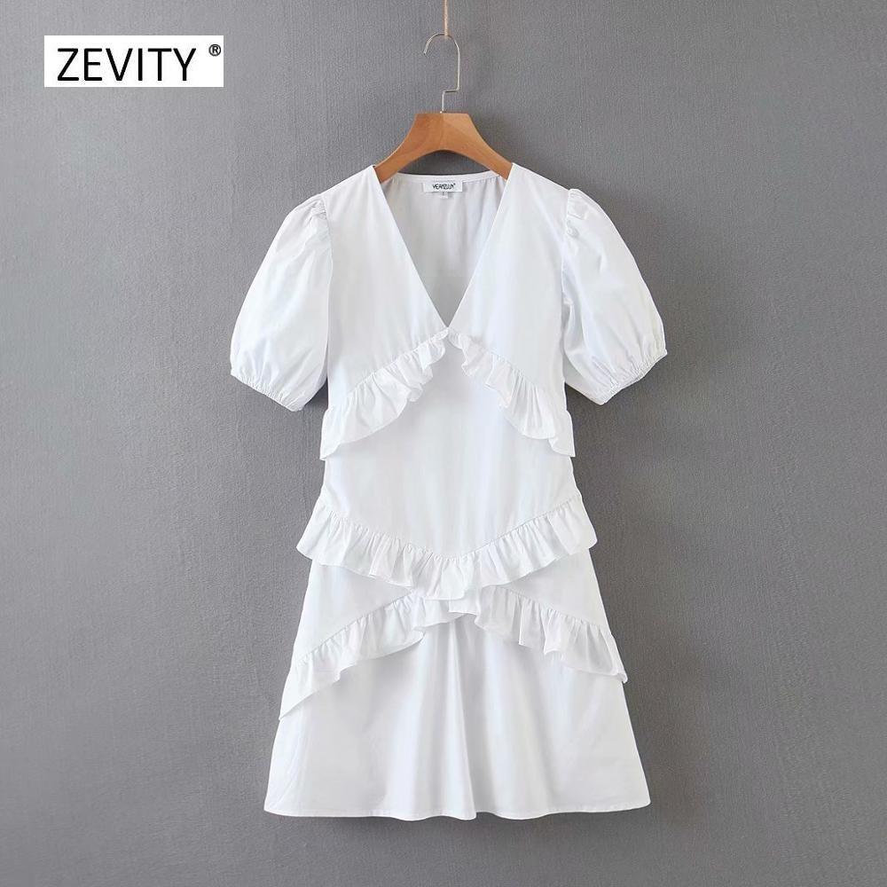 2020 Women Fashion V Neck Agaric Lace White Mini Dress Female Puff Sleeve Cascading Ruffles Vestidos Chic Casual Dresses DS3871