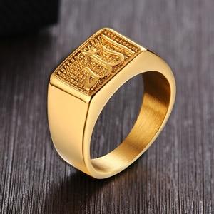 Image 1 - נירוסטה גברים של האסלאמי אללה חותם טבעת בזהב טון כיכר שחאדה ערבית תכשיטים