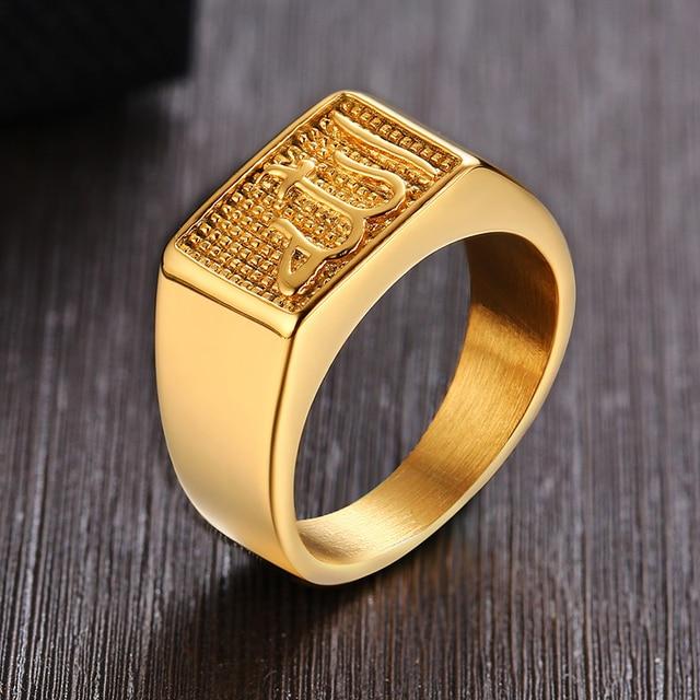 נירוסטה גברים של האסלאמי אללה חותם טבעת בזהב טון כיכר שחאדה ערבית תכשיטים