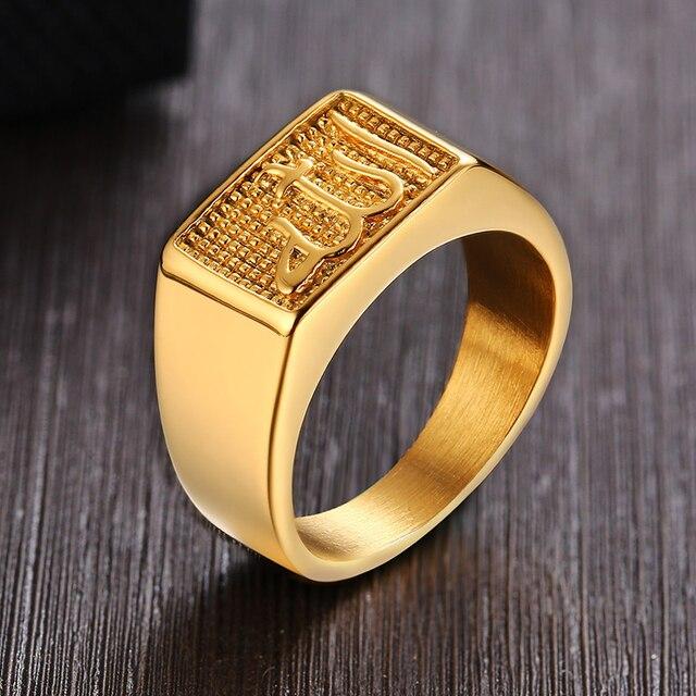 Bague Signet Allah islamique pour hommes, en acier inoxydable, bijou de mode carrée en couleur or Shahada arabe