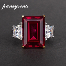 PANSYSEN Gemstone Jewelry Rings Natural Ruby 100%925-Silver Engagement Gift Women's Party