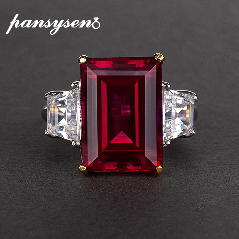 PANSYSEN 100% 925 Silver Jewelry Ruby Citrine Gemstone Jewelry Rings Women Fashion Finger Ring Party Engagement Gift Size 4-12