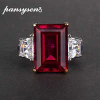 PANSYSEN 100% 925 Silver Jewelry Natural Ruby Gemstone Jewelry Rings Women's Fashion Finger Ring Party Engagement Gift Size 4-12