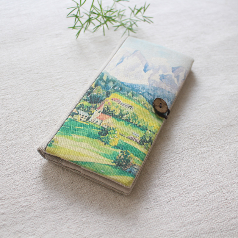 Peint à la main Paysage de Village Femmes Portefeuille à deux volets portefeuille Long Coton Lin