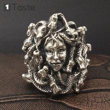 One taste 925 sterling thai silver men's ring snakes medusa's