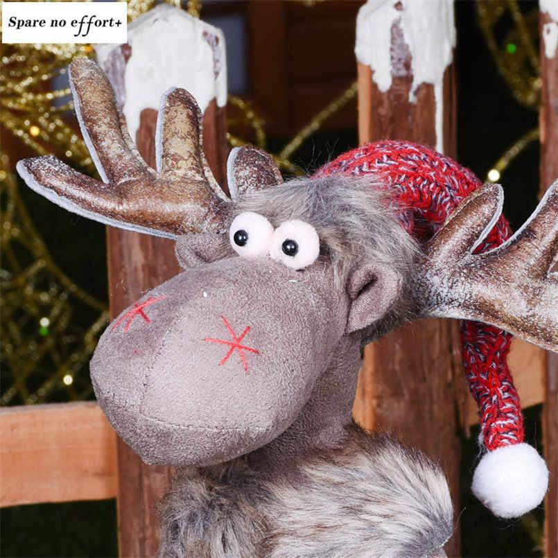 Ozdoby choinkowe dla domu czerwone lalki łosie ślub nowy rok wystrój bożonarodzeniowy piękne figury siedzące zabawki dla dzieci festiwal prezent Kerst