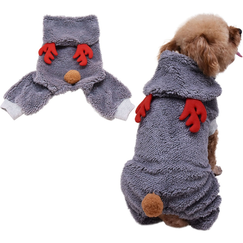 Pet Autumn And Winter Deer Cosplay Hooded Velvet Clothes Warm Costume Small And Medium Dog Christmas 4-legged Hoodie Pd