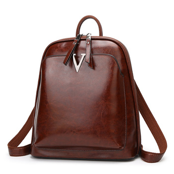 Fashion anti-theft backpack female 2020 new wave Korean version of the retro oil wax leather college wind backpack travel tide b aetoo new leather leather korean version of the wave of shoulder bags simple leisure travel bag backpack