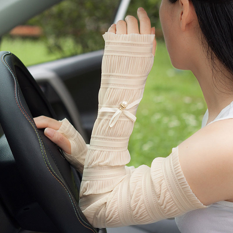 1 Pair Elegant Arm Sleeves Lovely Bow Cool Sun UV Protection Women Arm Covers Running Cycling Arm Warmer Bicycle Sleeves Arms