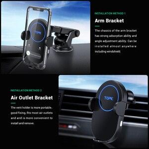 Image 2 - TOPK 15W Ô Tô Không Dây Sạc Cảm Ứng Xe Hơi Cho iPhone 11 Xiaomi Nhanh Sạc Không Dây Với Điện Thoại Holde