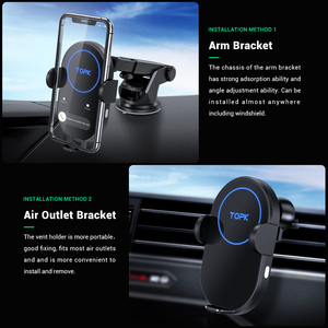 Image 2 - TOPK 15W kablosuz araç şarj cihazı indüksiyon araç montaj iPhone 11 Xiaomi hızlı kablosuz şarj araç telefonu tutucu