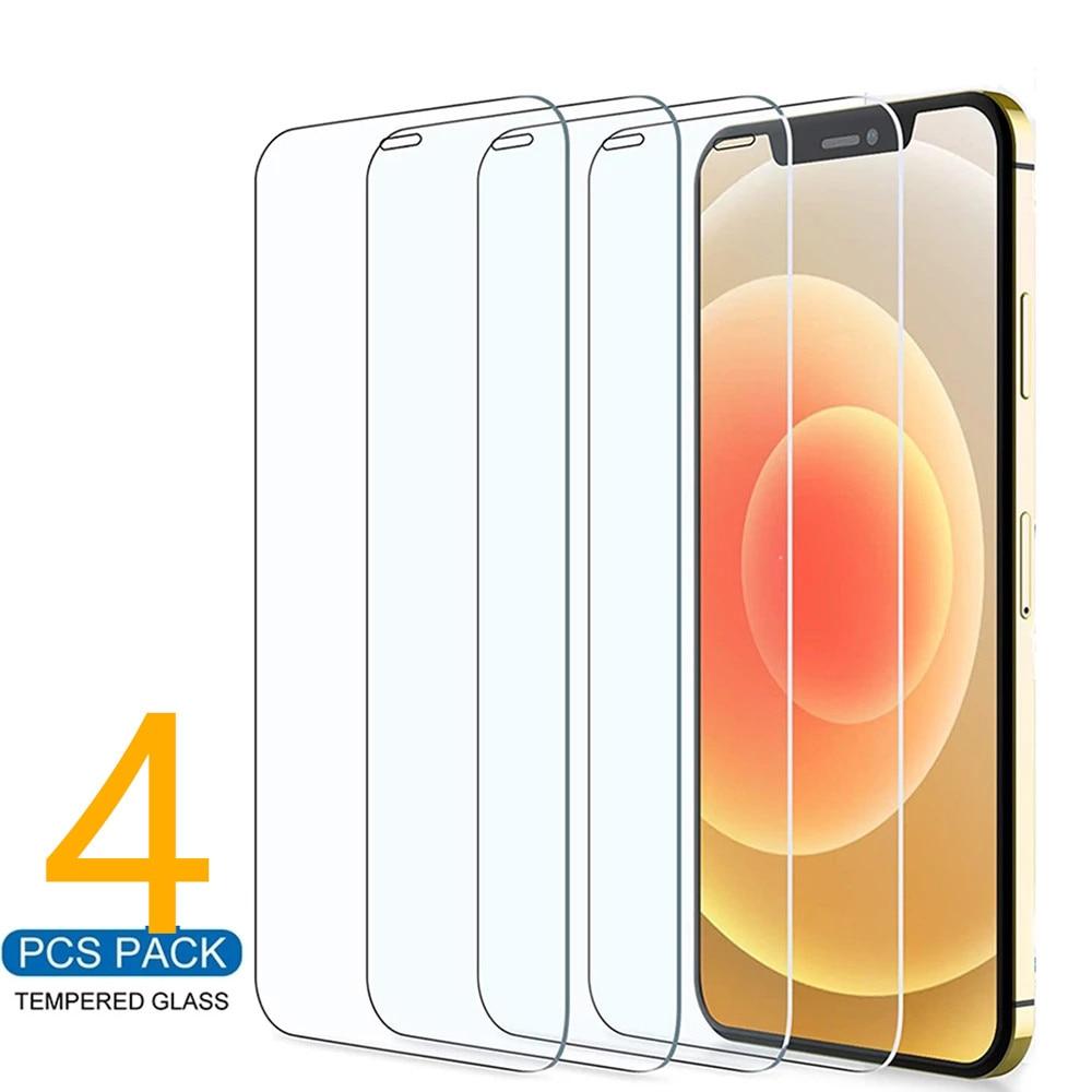 4 шт., защитное стекло на iPhone 11, 12 Pro Max, XS, XR, 7, 8, 6s Plus, SE, Защита экрана для iPhone 12 Mini, 11 Pro Max, закаленное стекло