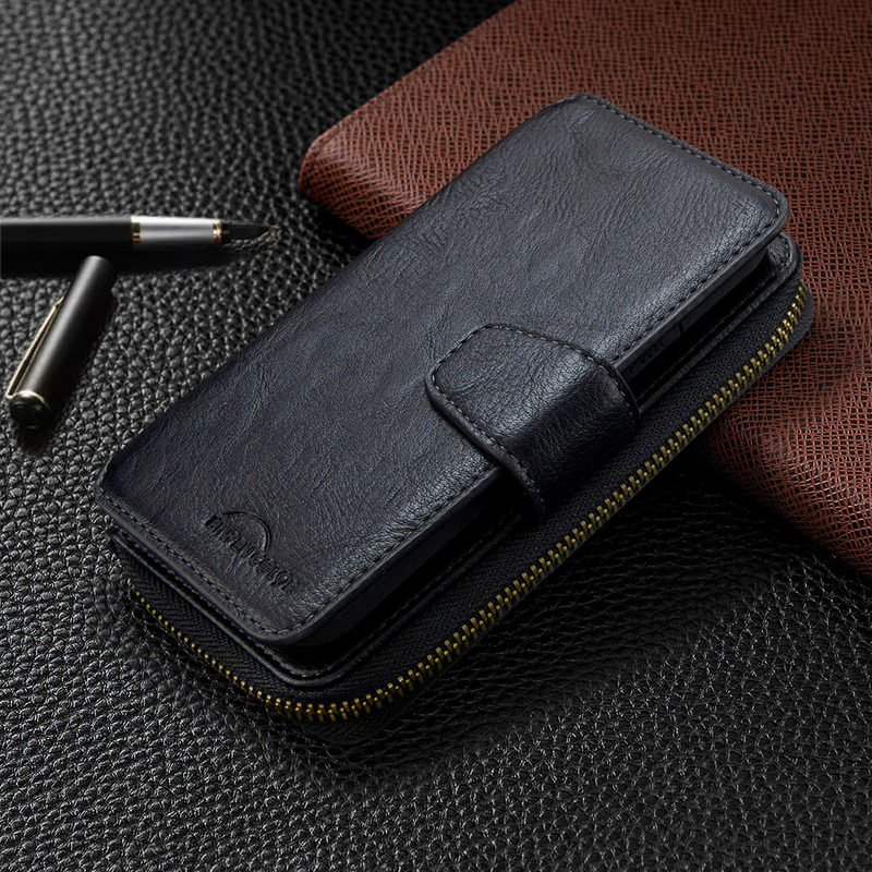 Case For Huawei P30 Lite P40 P Smart Z 2019 Y5 Y6 Y7 Y9 Detachable Leather Zipper Wallet Flip Card Stand Mobile Phone Bags Cover