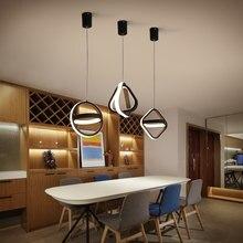 Lâmpada de teto pendente LED moderna para sala de jantar Quarto Fundo de cabeceira Decoração da casa Círculo Quadrado Luminária suspensa
