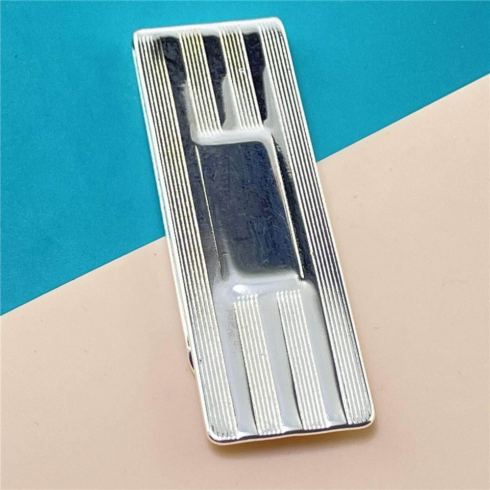 925 Silver Money Clip Striped Money Clip Fashion Jewelry Gift-3
