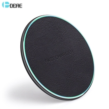 DCAE 10W QI Wireless Charger for iPhone X XS Max XR 8 Plus Airpods 2 Leather Fast Charging Pad For Samsung S8 S9 S10 Note 10 9 8