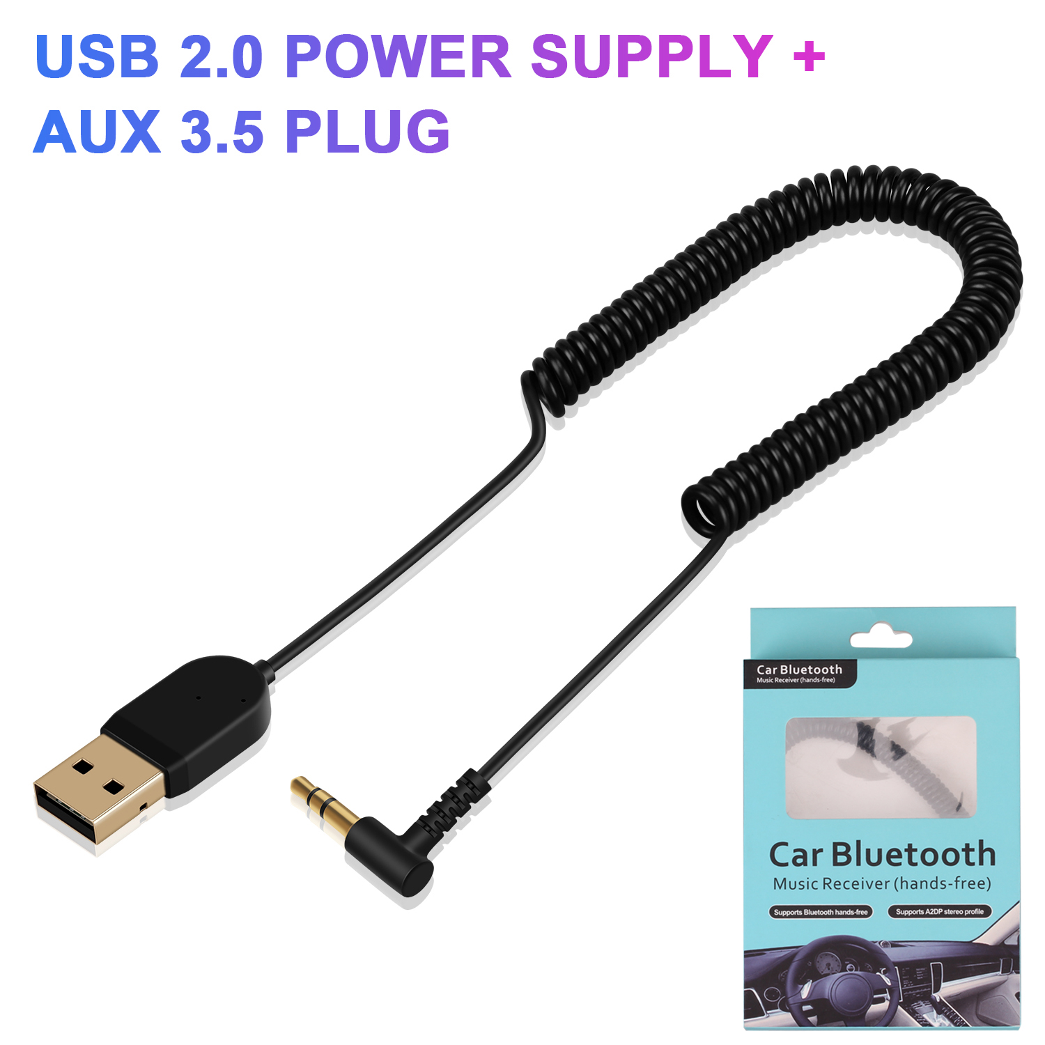 5.0 Bluetooth Adapter Mini USB 2.0 CSR Adjustable Receiver Adapter For Car Speaker AUX Interface Speaker with 3.5 Plug cable image