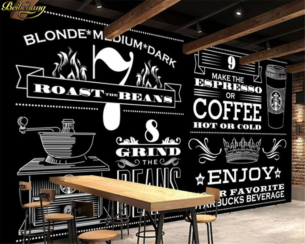 Beibehang Custom 3d Wallpaper Mural European Style Hand Painted Black And White Starbucks Coffee Shop Background Wall Paper