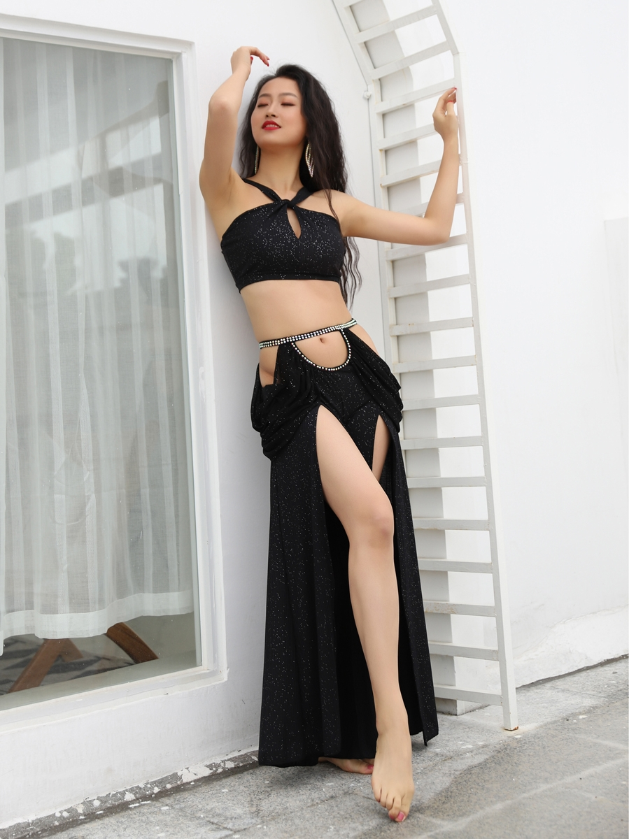 2020 Summer New  Belly Dance Costume Set  Design Layd's 2 Piece Sexy Strap Blouse Long Harem Pants Side Split Dancewear Black