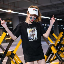 [Jane Put] Mid-length Loose-Fit T-shirt Women's Lower Body Missing Versatile Short Sleeve 2019 Summer New Style Tops Wholesale(China)