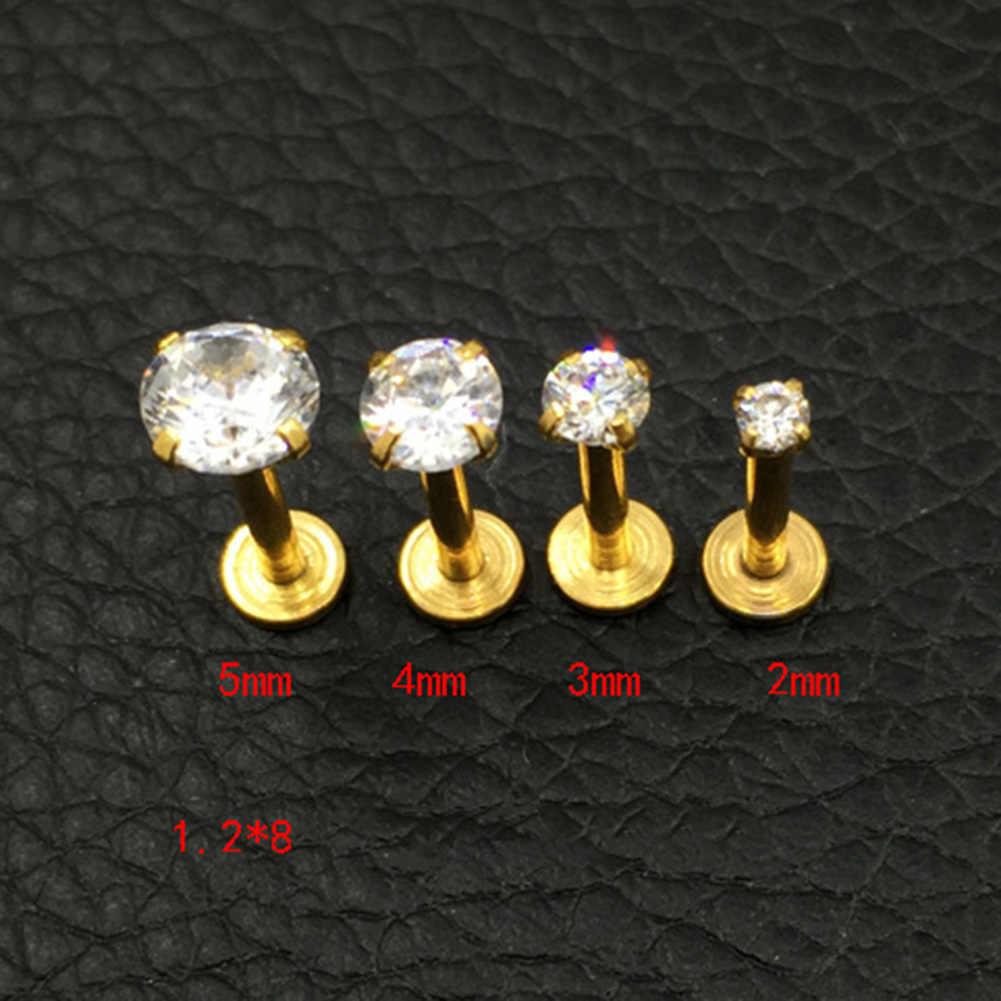 1 Pcs שיניים אופנה Tragus סחוס נירוסטה אוזן Stud קריסטל זירקון עגילי פירסינג תכשיטי זהב ברור Boucle