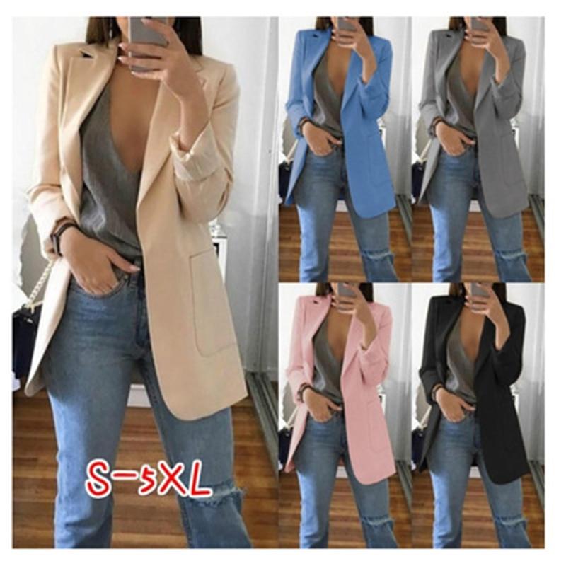 Fashion Autumn Women Cardigan Jacket Candy Color Jacket Long Sleeve Slim Suit Women's Jacket Large Suit Jacket Large Size S-5XL