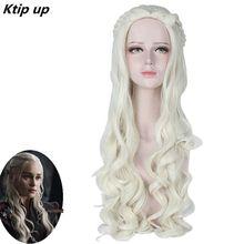 цена на Ktip Up Game Of Thrones Daenerys Targaryen Cosplay Wig Synthetic Hair Long Wavy Dragon Of Mother Costume Wigs