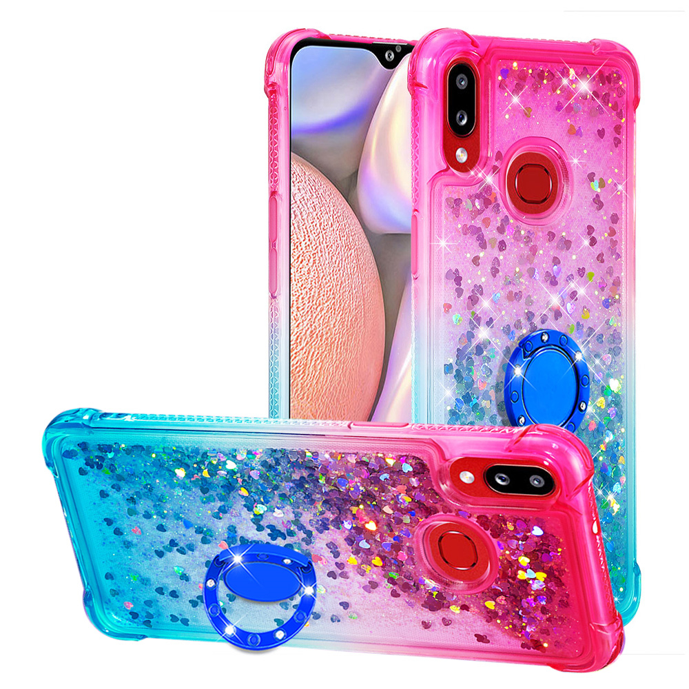 Fashion Gradient Liquid Quicksand Soft <font><b>Case</b></font> For <font><b>Samsung</b></font> <font><b>Galaxy</b></font> M30S Note10 A10S <font><b>A70</b></font> A50 A505 Luxury Sequin <font><b>Case</b></font> With Finger <font><b>Ring</b></font> image