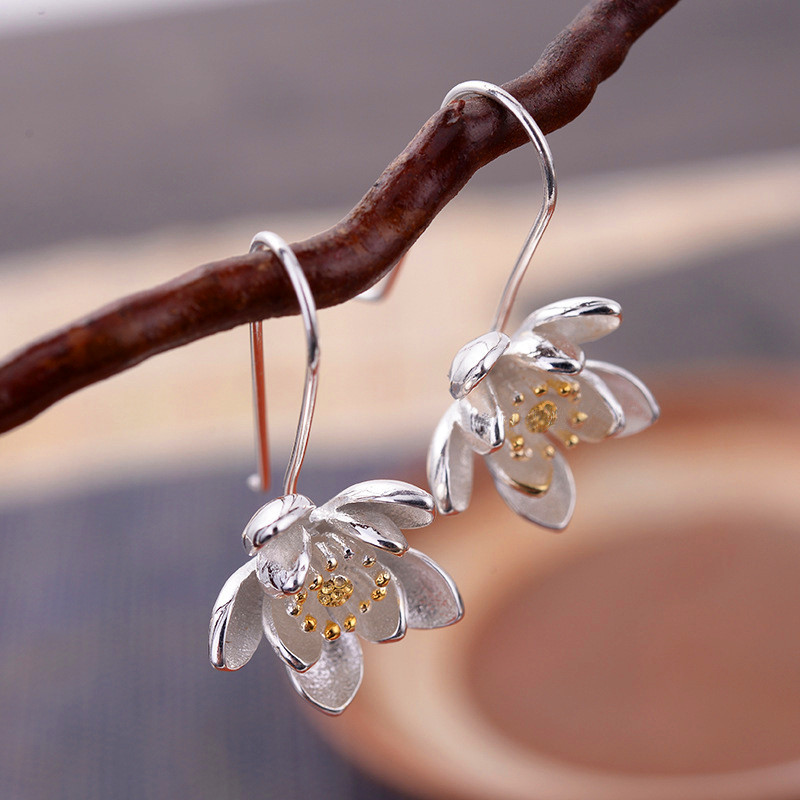 White Gold Filled Earrings Cute Flower Orchid Daisy Drop Earrings For Women Charm Wedding Dangle Earring Minimalist Jewelry