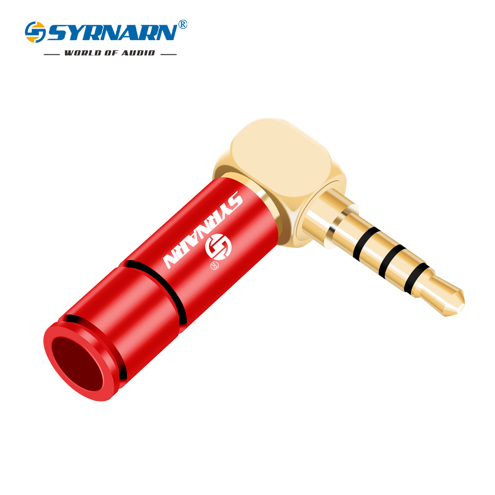SYRNARN 2pcs 3.5mm Stereo Right Angle Plug DIY Headphone Plug 4 Pole Welding Head AUX 3.5 Connector Repair For 6mm Cable