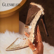High Heels For Women Summer Sexy Shoes Transparent Jelly Pumps Diamond Point Toe Thin High Heels Fashion Party Shoes New Arrival new arrival women italian african party pumps shoes and bag set decorated with rhinestone matching shoes and bag set in heels