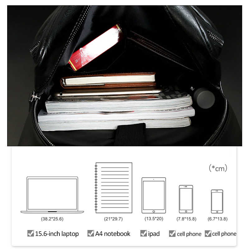 Fashion Laptop Men Backpack Large Capacity Travel Man Bag with USB Charging Backpacks PU Leather School College Waterproof
