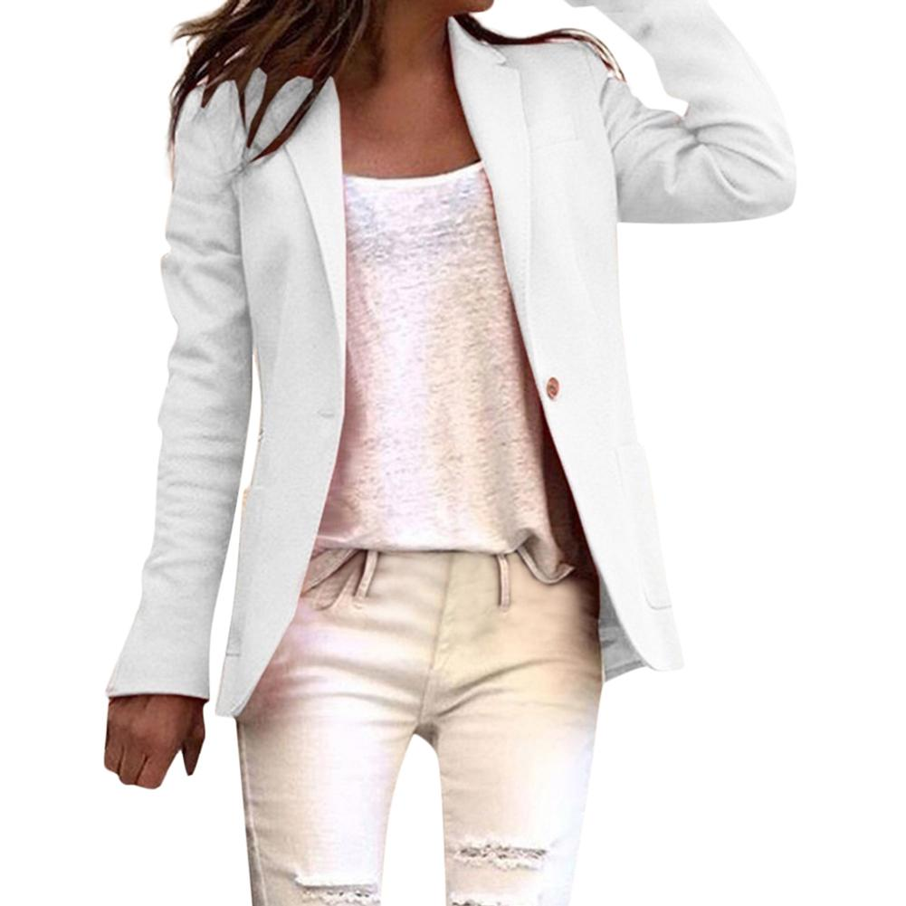 Office Lady Blazer Long Sleeve Solid Color Single Button Blazer Suit Jacket Basic Coat Pink Blue White Black Autumn