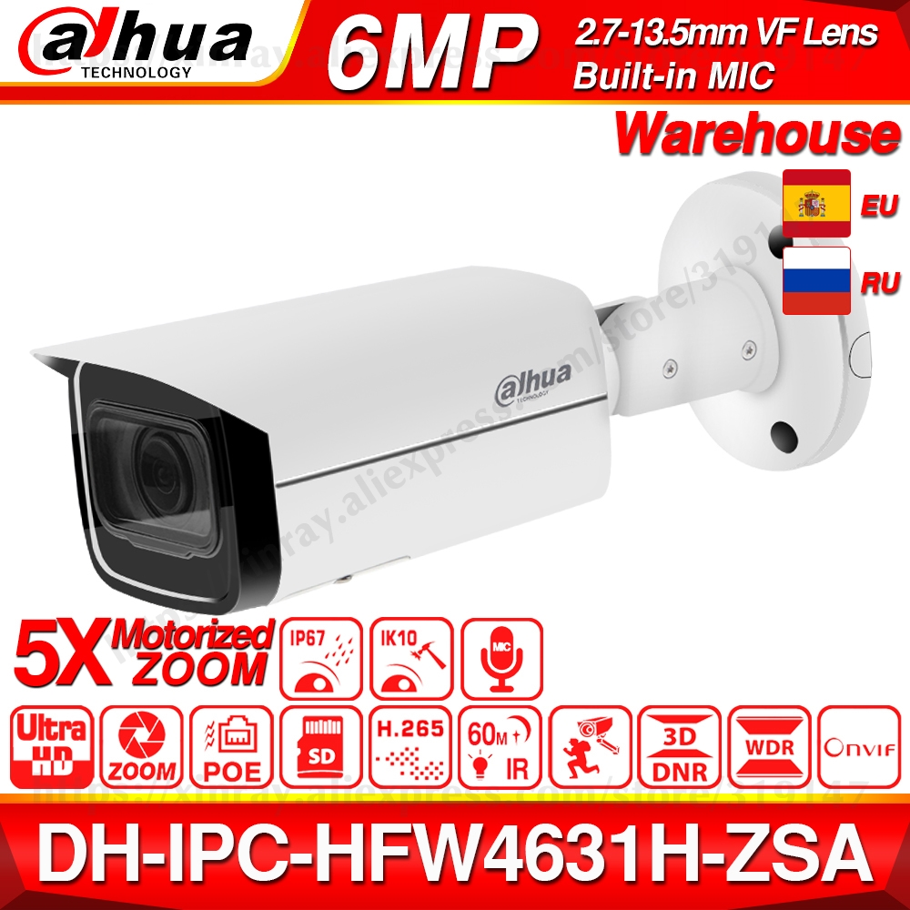 Dahua  IPC-HFW4631H-ZSA 6MP IP Camera Upgrade From IPC-HFW4431R-Z Build In MiC Micro SD Card Slot 5X Zoom PoE Camera