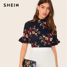 SHEIN abaya/темно-синяя гофрированная манжета с круглым вырезом, футболка с цветочным принтом, топ, женский летний рукав-Волан женские, облегающие элегантные футболки, топы