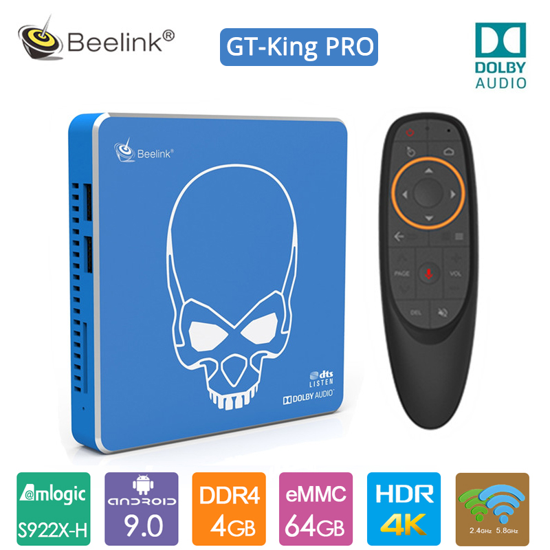 2020 Original Beelink GT King Pro Android 9.0 TV Box 4G+64G Amlogic S922X-H 2.4G+5.8G WIFI Hi-Fi Lossless Sound with Dolby Audio