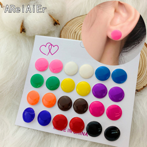 12 pairs/set of European and American round earrings set for Women color buttons retro niche earring Female Fashion gift Jewelry