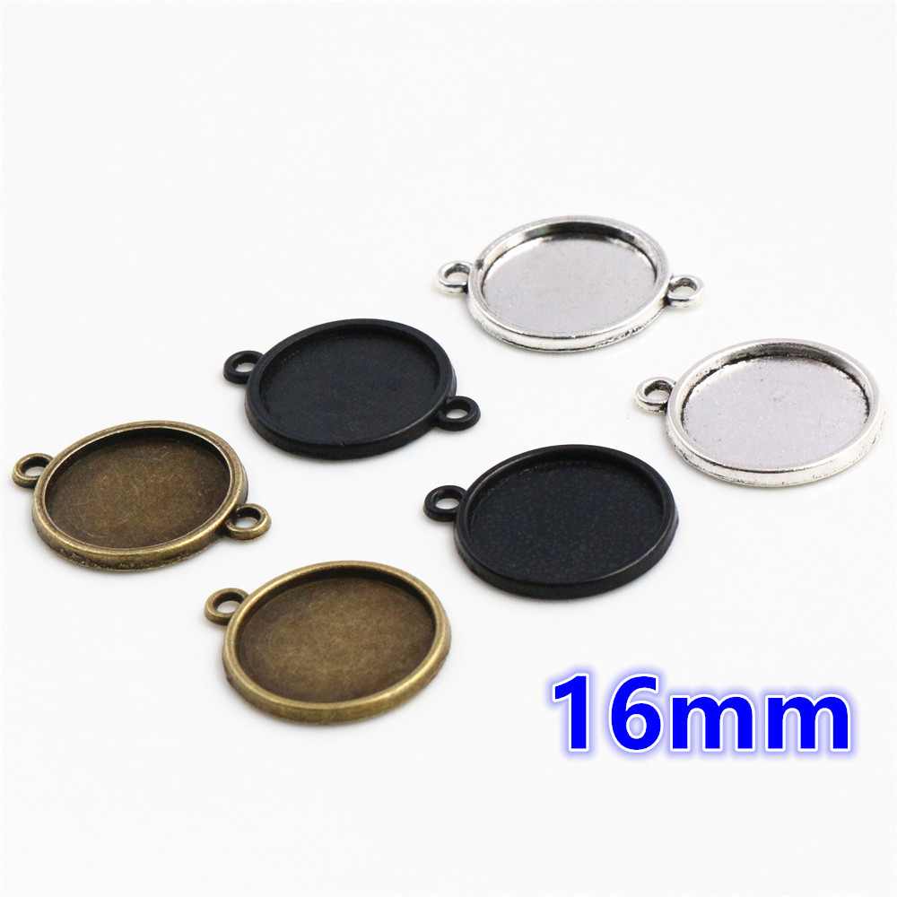 20pcs 16mm Inner Size Antique Bronze And Silver Plated Black Plated 6 Simple Style Cabochon Base Cameo Setting Charms Pendant