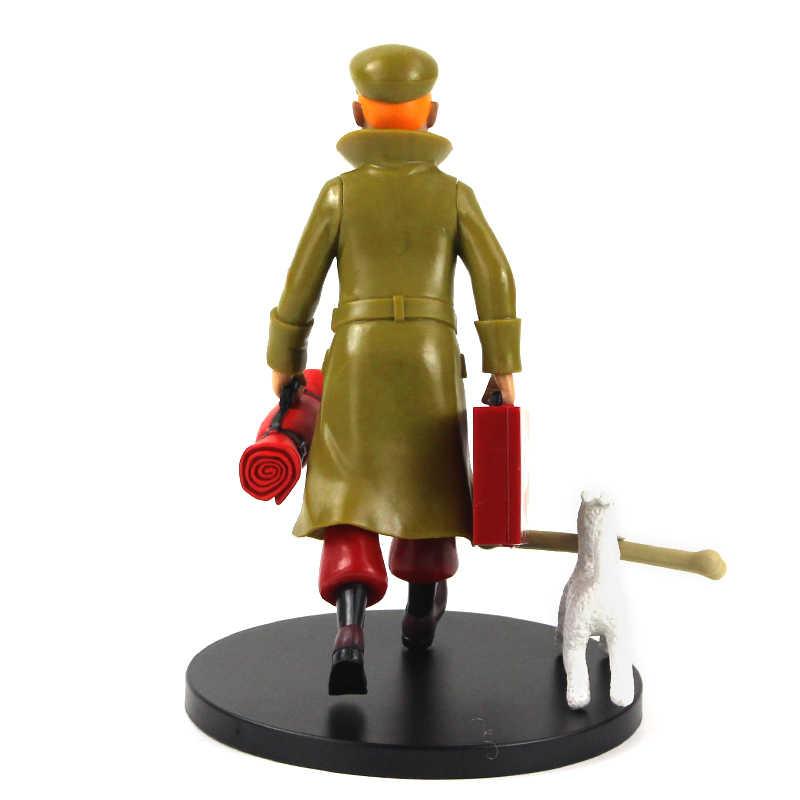 19 سنتيمتر مغامرات Tintin عمل الشكل Tintin ثلجي الكلب مستخلص أوراق زهرة اللوتس الكرتون تحصيل نموذج اللعب