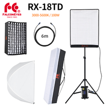 Falcon Eyes 100W LED Photo Video Light Portable LED Photo Light 504pcs Flexible LED Light RX 18TD with Diffuser + Light Stand