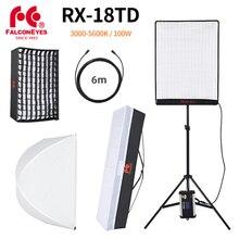 Falcon eyes 100 w led foto luz de vídeo portátil led foto luz 504 pces flexível led luz RX 18TD com difusor + suporte de luz